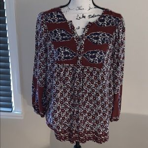 LUCKY BRAND brown, purple blouse Large